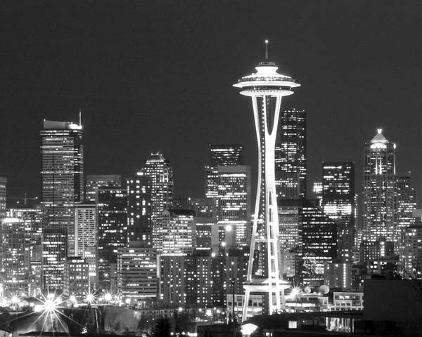 Seattle Poster featuring the photograph City Lights 1 by John Gusky