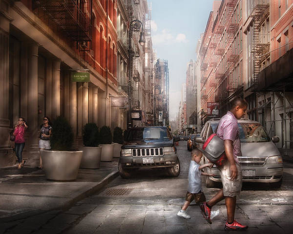 Savad Poster featuring the photograph City - Ny - Walking Down Mercer Street by Mike Savad