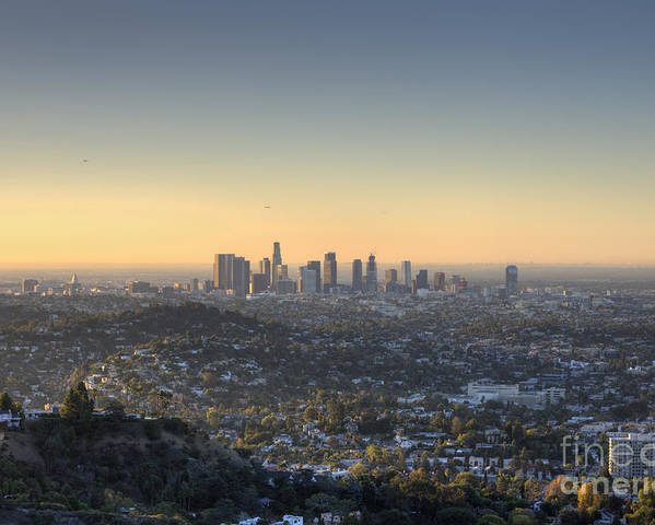 Los Angeles Poster featuring the photograph City Of Los Angeles At Dawn by Trekkerimages Photography