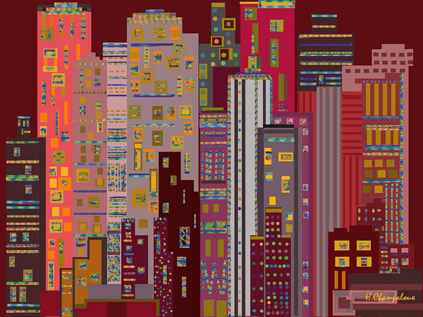Red Poster featuring the digital art City Of Night by Helene Champaloux-Saraswati