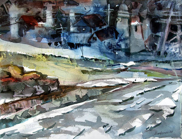Winter Poster featuring the painting City Snow Melts by Mindy Newman