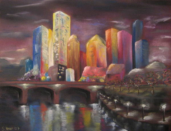 City Poster featuring the painting Citylights by Sabina Haas