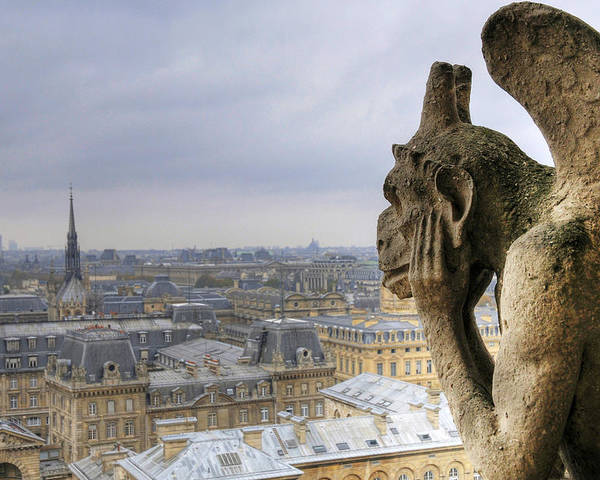 Horizontal Poster featuring the photograph Cityscape From Notre Dame, Paris by Zens photo