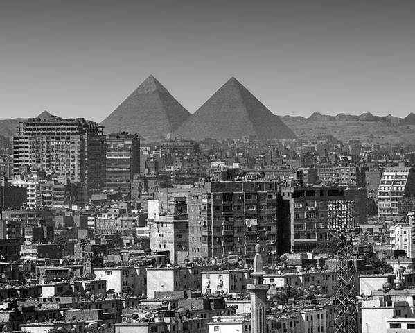 Horizontal Poster featuring the photograph Cityscape Of Cairo, Pyramids, Egypt by Anik Messier