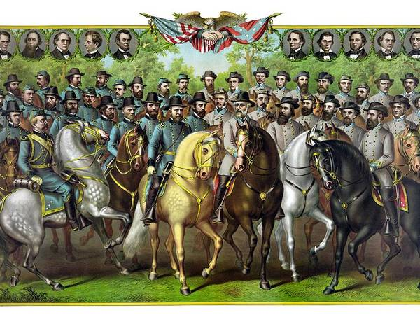 Civil War Poster featuring the painting Civil War Generals And Statesman by War Is Hell Store
