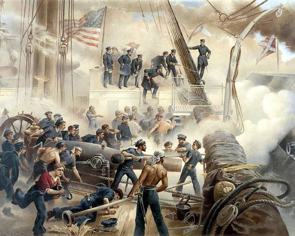 Civil War Poster featuring the painting Civil War Naval Battle by War Is Hell Store
