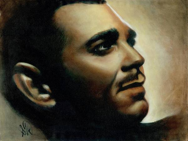 Portrait Poster featuring the painting Clark Gable by Elizabeth Silk
