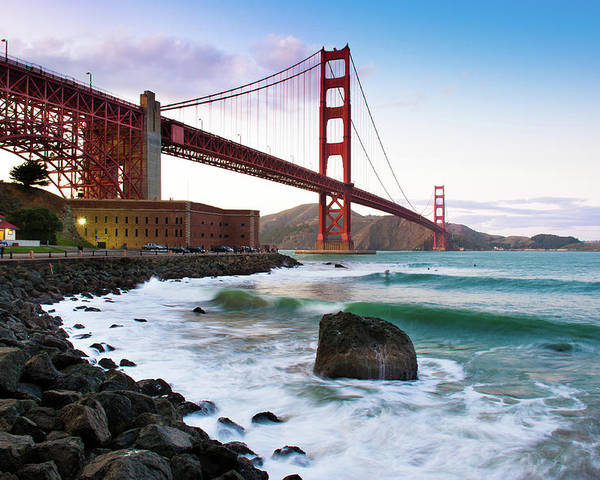 Horizontal Poster featuring the photograph Classic Golden Gate Bridge by Photo by Alex Zyuzikov