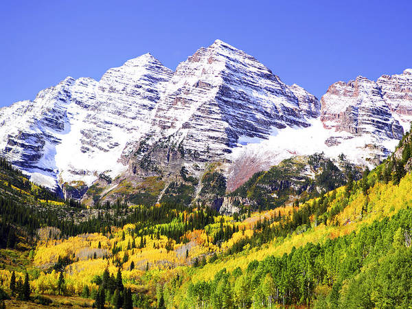 Americana Poster featuring the photograph Classic Maroon Bells by Marilyn Hunt