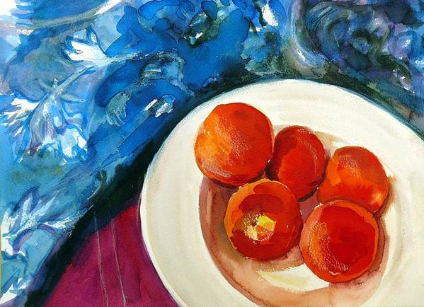 Still Life Poster featuring the painting Classic Peaches by Doranne Alden