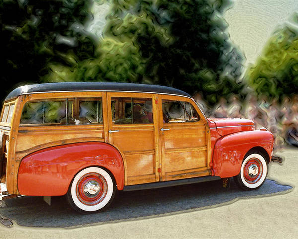 Classic Automobile Poster featuring the photograph Classic Woody Station Wagon by Roger Soule