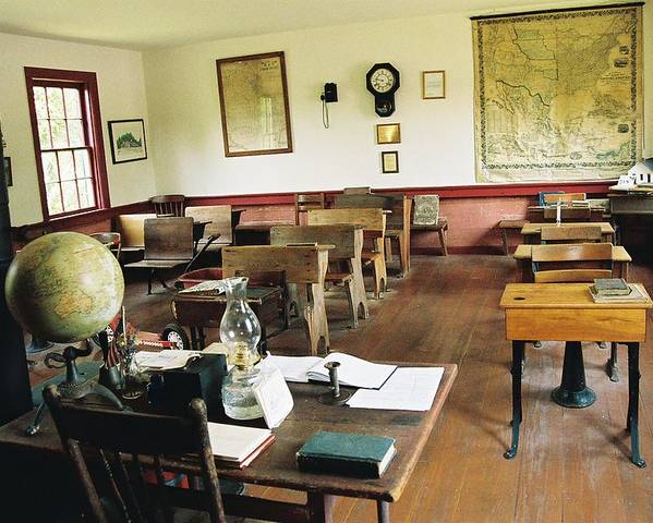 One Room School House Poster featuring the photograph Classroom Inside Of Charlestown Rhode Island by Cheryl Vatcher-Martin