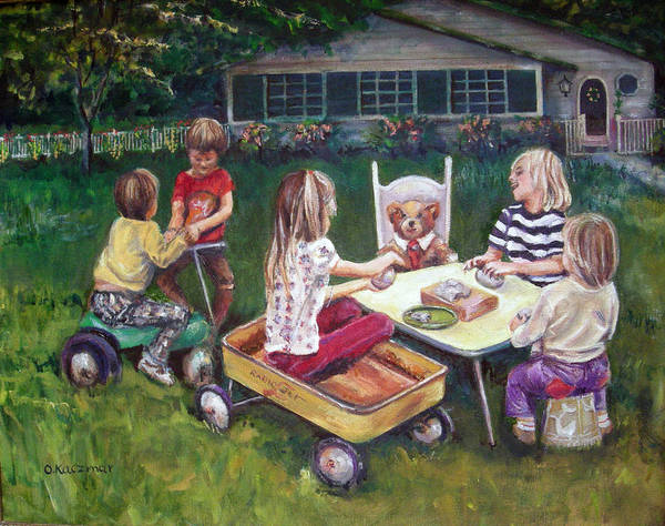 Children Poster featuring the painting Clay Fun by Olga Kaczmar
