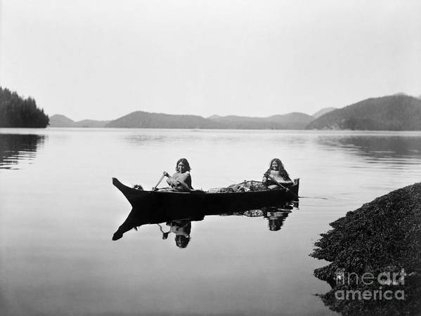 1910 Poster featuring the photograph Clayoquot Canoe, C1910 by Granger