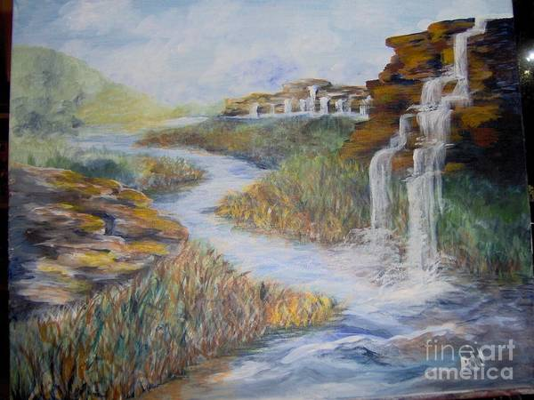 Waterfall Poster featuring the painting Cleansing by Saundra Johnson