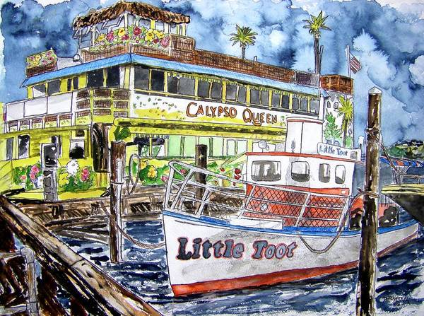 Seascape Poster featuring the painting Clearwater Florida Boat Painting by Derek Mccrea
