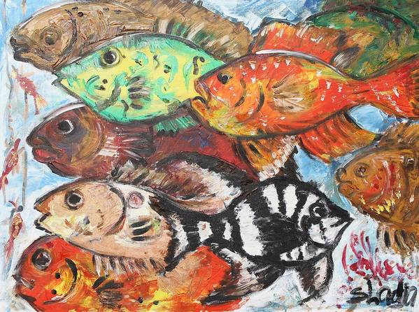 Fish Poster featuring the painting Clever One by Sladjana Lazarevic