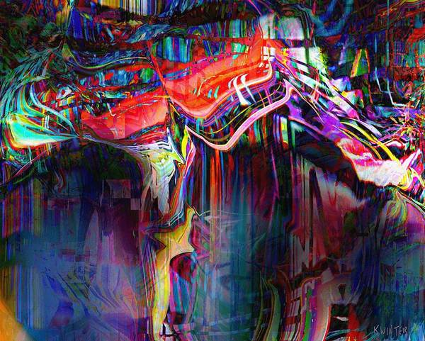Abstract Poster featuring the digital art Cliff by Dave Kwinter