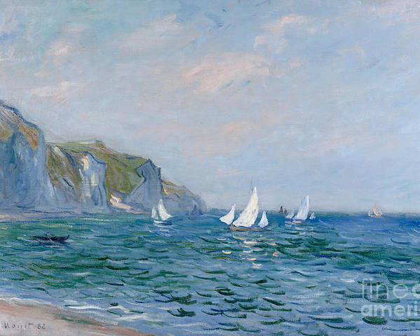 Cliffs And Sailboats At Pourville (oil On Canvas) Impressionism; Impressionist; Seascape; Sea; Ocean; Boat; Sailing; Sail; Yacht; Cliff; Monet Poster featuring the painting Cliffs And Sailboats At Pourville by Claude Monet