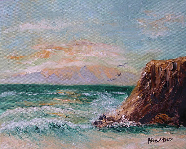 Waves Poster featuring the painting Cliffs And Waves by Barbara Harper