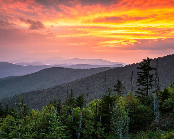 Great Smoky Mountains National Park Poster featuring the photograph Clingmans Dome Great Smoky Mountains - Purple Mountains Majesty by Dave Allen