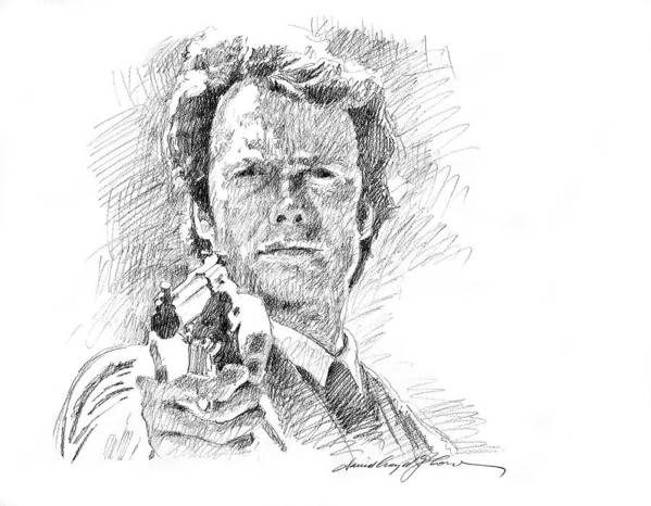 Clint Eastwood Poster featuring the drawing Clint Eastwood As Callahan by David Lloyd Glover