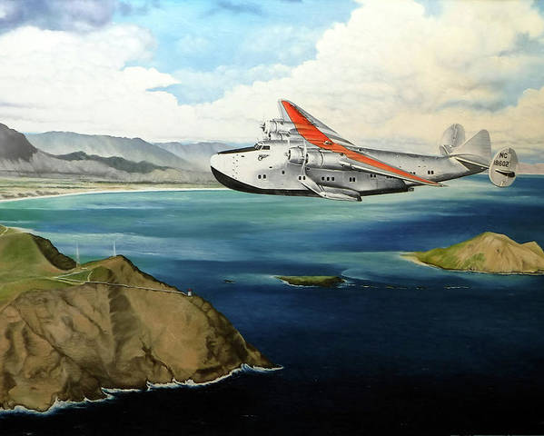 Clipper Poster featuring the painting Clipper at the Makapu'u Light by Marcus Stewart