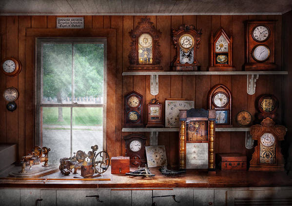 Suburbanscenes Poster featuring the photograph Clocksmith - In The Clock Repair Shop by Mike Savad