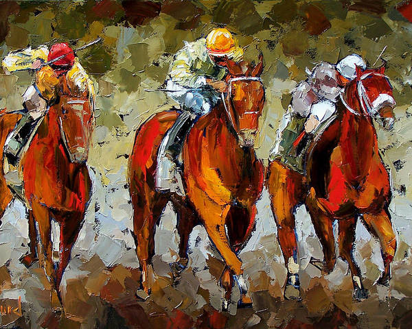 Horses Poster featuring the painting Close Race by Debra Hurd
