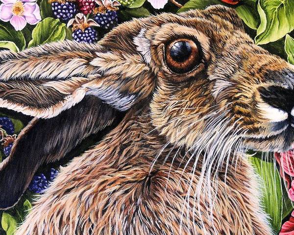 Hare Poster featuring the painting Close Up Detail From Painting Celibration by Donald Dean