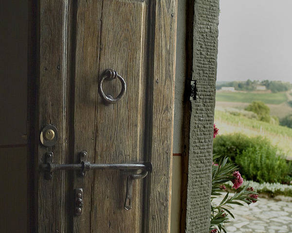 Doors Poster featuring the photograph Close View Of A Wooden Door On A Villa by Todd Gipstein