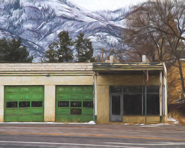 Gas Poster featuring the digital art Closed Service Station Painterly Impressions by Nick Gray