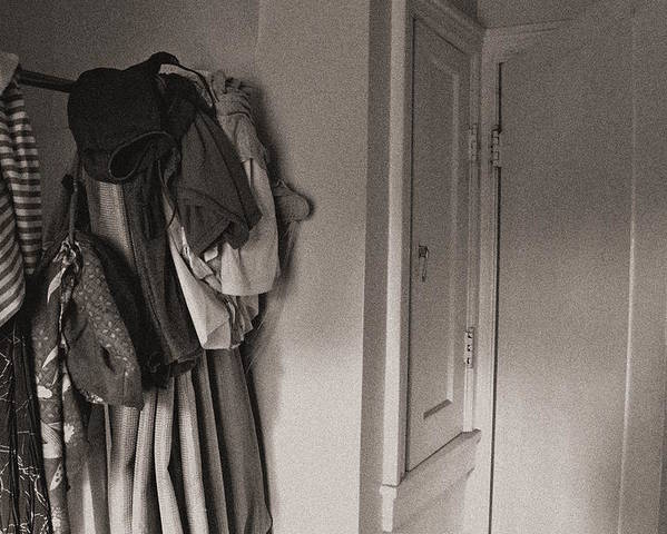 Monochrome Poster featuring the photograph Closet Space by Sarah Hembree
