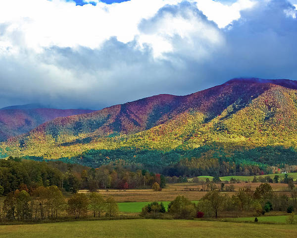 Smokey Mountains Poster featuring the photograph Cloud Covered Peaks by DigiArt Diaries by Vicky B Fuller