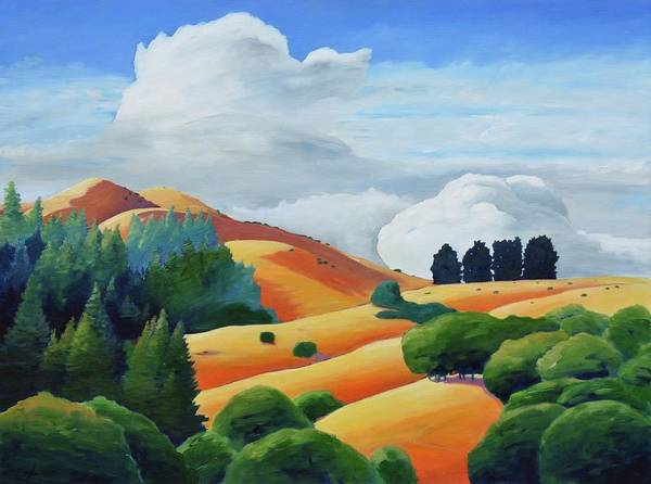 Clouds Poster featuring the painting Clouds Over Windy Hill by Gary Coleman