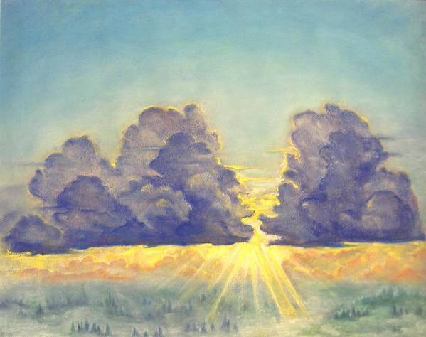 Clouds Poster featuring the painting Cloudscape by Julianna Ziegler