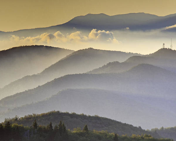 Black Balsam Poster featuring the photograph Cloudy Layers On The Blue Ridge Parkway - Nc Sunrise Scene by Rob Travis