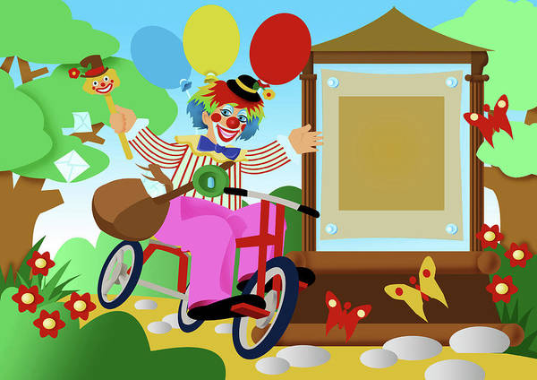 Clown Poster featuring the digital art Clown Greeting by Stet Mihail Angelo