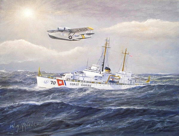 Nautical Poster featuring the painting Coast Guard Cutter Pontchartrain And Coast Guard Aircraft by William H RaVell III