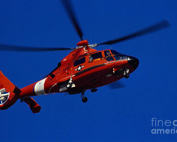 Horizontal Poster featuring the photograph Coast Guard Helicopter by Stocktrek Images