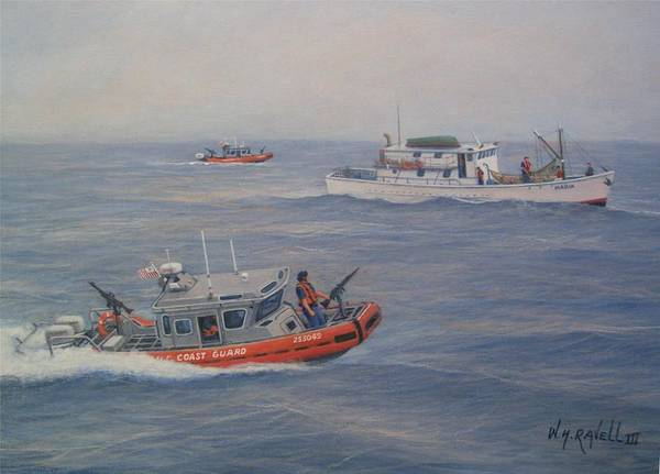 Marine Poster featuring the painting Coast Guard Nets Catch Of The Day by William H RaVell III