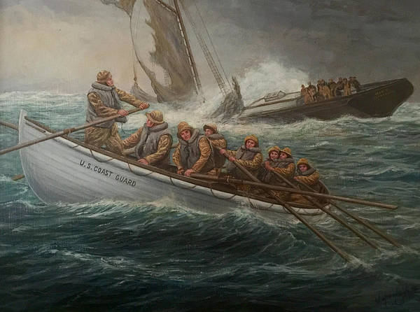 Coast Guard Poster featuring the painting Coast Guard To The Rescue by William H RaVell III