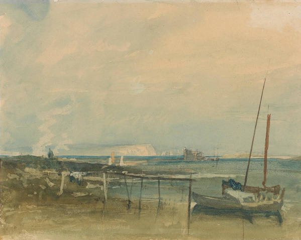 19th Century Art Poster featuring the painting Coast Scene With White Cliffs And Boats On Shore by Joseph Mallord William Turner