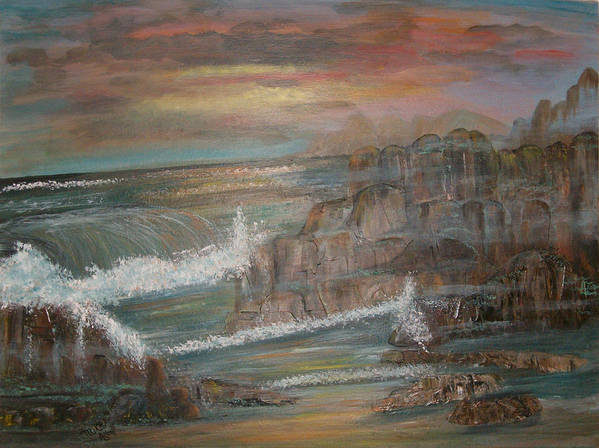 Seascape Poster featuring the painting Coastal Brillancy by Mikki Alhart
