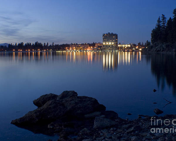 Skyline Poster featuring the photograph Coeur D Alene Skyline Night by Idaho Scenic Images Linda Lantzy