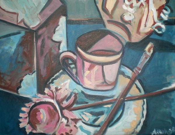 Coffee Cup Poster featuring the painting Coffee Cup With Brush by Aleksandra Buha