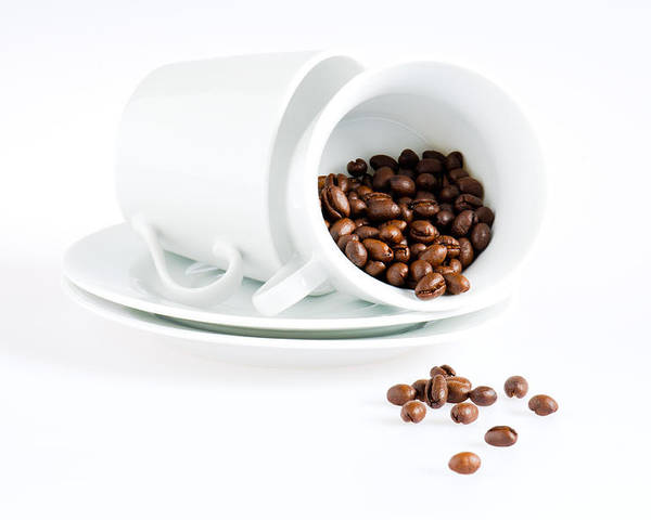 Background Poster featuring the photograph Coffee Cups And Coffee Beans by U Schade