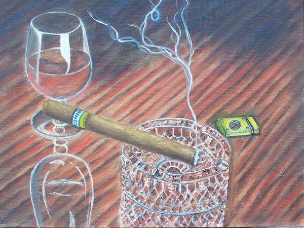 Cigars Poster featuring the painting Cohiba And Wine by Charles Vaughn