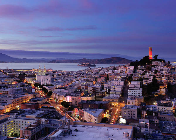 Horizontal Poster featuring the photograph Coit Tower And North Beach At Dusk by Photo by Brandon Doran