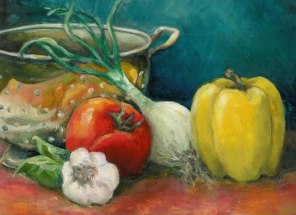 Still Life Poster featuring the painting Colander Art by Linda Vespasian